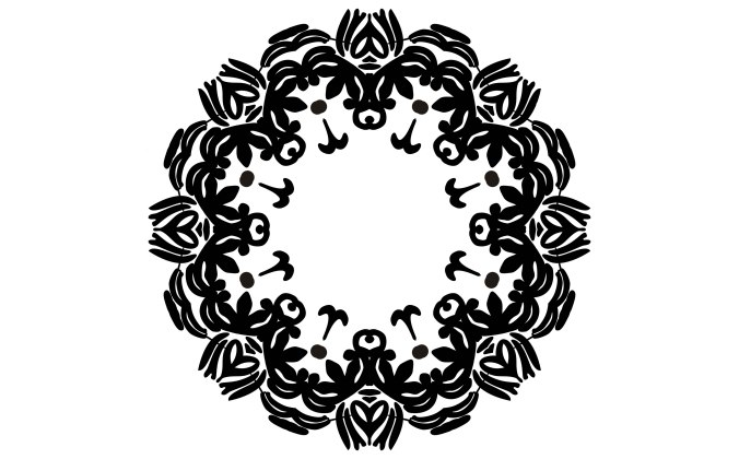 Black ornament graphic on white paper