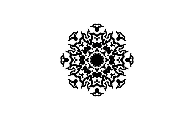 Complex decorative ornament graphic on white
