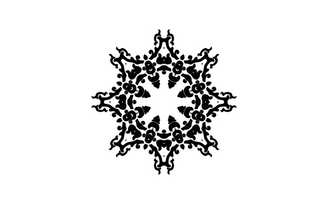 Star like decorative ornament on white background