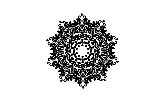 Black, decorative ornament on white