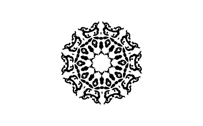 Ornate graphic, black on white