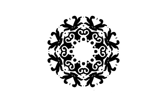 Mandala graphic, black on white