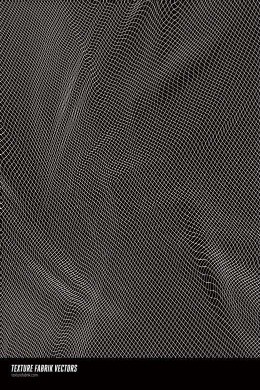 White, curvy mesh pattern on black background