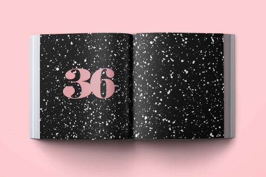 Book spread with number and drops of ink