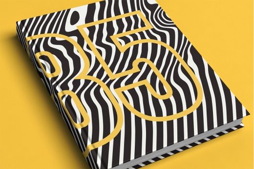 Cover with distorted curves pattern