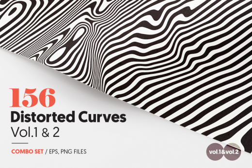Distorted curves vector patterns