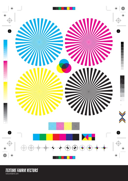 Various CMYK print and crop mark vectors