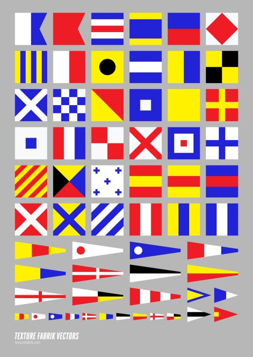 Chart depicting maritime signal flags alphabet